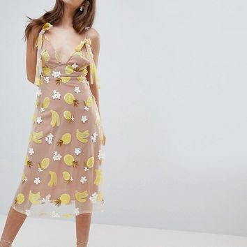 For Love and Lemons Fruit Punch Sequin Midi Dress at asos.com