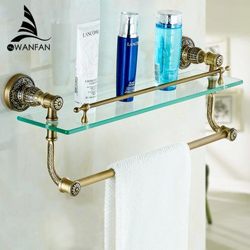 Bathroom Shelves Tempered Glass Shower Shelf Single Bar Antique Brass Bathroom Accessories Shampoo Storage Wall Shelf SL-7838