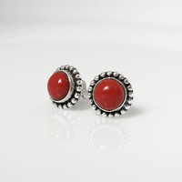 Red Coral Stud Earrings, Red Earrings, Red Coral Jewelry, Boho Stud Earrings, boho chic jewelry, tribal stud earrings, coral earrings, boho