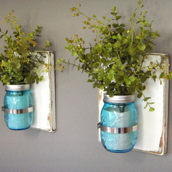 Wooden Wall Sconces - Set of 2 Sconces - Blue Tinted Jars - 16 oz Mason Jars -  Distressed Wood - Rustic Country Decor - Housewarming Gift