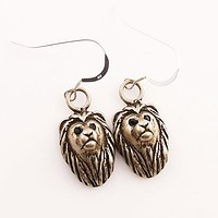 Animal Lion White Bronze Earrings