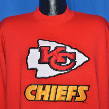 90s Kansas City Chiefs Sewn On Patch Sweatshirt Extra-Large