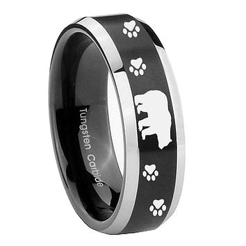 8MM Bevel Brush Black 2 Tone Bear and Paw Tungsten Laser Engraved Ring