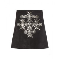 saint laurent - studded suede skirt