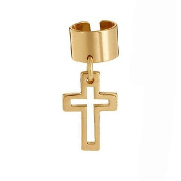 Cross Ear Cuff Gold Hollow Cross Ear Cuff