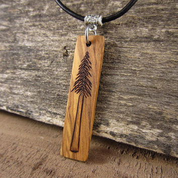 Long Rectangle Wood Pendant Pine Tree Necklace,  Black Leather Necklace Cord, Tree Wood Art