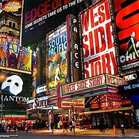 New York City Times Square Broadway Theatre District. Art Print Photograph Poster (20 x 16)
