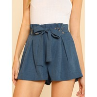 Blue Regular High Waist Belt Shorts