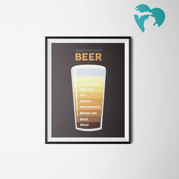 "Boyfriend Gift - Printable Art - Dad Gift - Man Gift - Beer Guide - Man Cave - ""Beer Chart"""