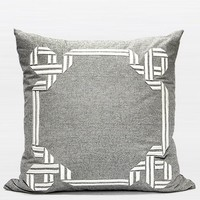 "Gray Textured Frame Embroidered Pillow 20""X20"""