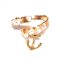 Charm Ring Refuse to Sink Nautical Ring Modern Ring Herkimer Diamond Ring Beach Ring Gold Ring Adjustable Ring Anchor Ring Anchor Jewelry