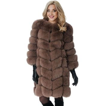 New Medium Long Fake Fox Fur Jacket Women Winter Faux Fox Fur Jackets Woman Warm Artifical Fox Fur Coats Female Ladies Fur
