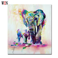 Elephant Family Pictures Watercolor Paintings Abstract Wall Art Animal Canvas Print Poster Cuadros Decoracion Christmas Gift