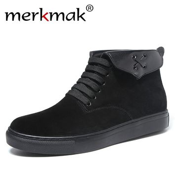 Merkmak Fashion Men Boots Suede Leather Quality Brand Snow Winter Boots Autumn Casual Ankle Boots for Men Big Size 38-47