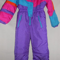 Vintage 80s Girls Ski Suit Size 8 Neon Pink Purple Teal Kids Snow Winter Fun kawaii