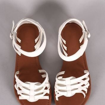 Woven Ankle Strap Open Toe Fisherman Flat Sandal