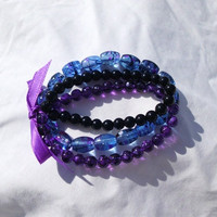 "Triple Beaded Bracelet with Ribbon, Blue Black Purple ""Jessica"""