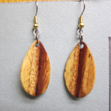 Small Spalted Tamarind Exotic Wood Earrings Dangle Earrings handcrafted by ExoticwoodJewelryAnd Ecofriendly