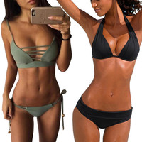 Swimwear Female Women 2017 New Hot Sexy Pacthwork Bikini Set Women Push up Vintage Swimwear Brazilian Swimsuit Beachwear Biquini -0306