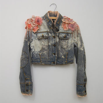 upcycled denim jacket / ombre dyed bleached / small