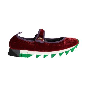 Dolce & Gabbana Red Velvet Crystal Strap Ballerina Shoes