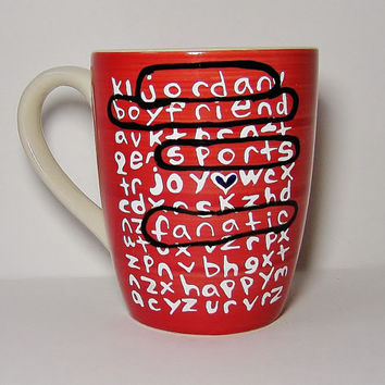 Valentine's Day Gift, BFF, Ceramic Mug MMMug Personalized Word Search Puzzle, Red, Blue, Yellow, Black White Red / Custom Long Distance