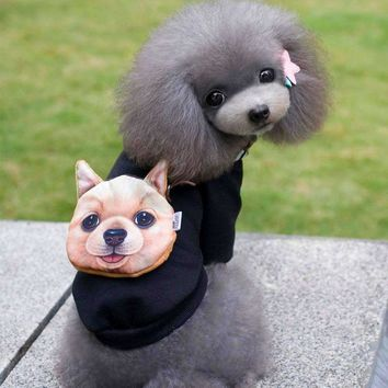Cute Dog Head Stumpwork Dog Clothes Fashion Puppy Pet Clothing Hoodied Autumn Winter Warm Dog Jacket Coat For Small Dogs S-XXL