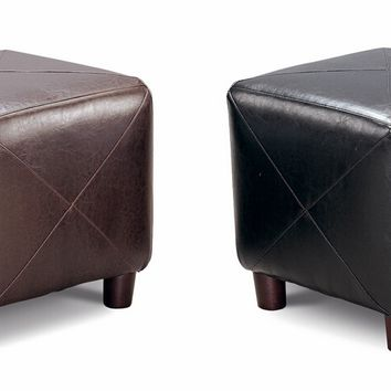 Dark brown or black bycast leather like vinyl square cube ottoman
