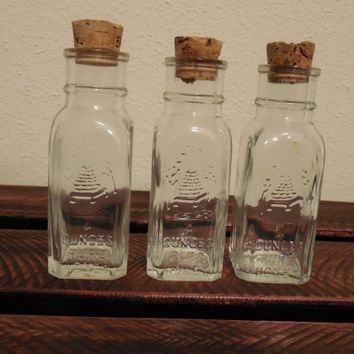 3 Vintage 1852 Brand Honey Acres 4 oz. Glass Jars with Cork Top
