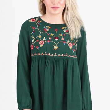 Fall Florals Embroidery Babydoll Blouse {Hunter Green}