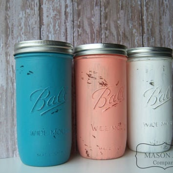 Coral and Teal, Wedding, Mason Jars, Painted Mason Jars,Wedding Decor,Wedding Decorations,Bridal Shower, Table Settings, Decor, Reception