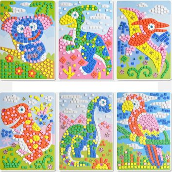 D Mosaics Creative Sticker Game 12 styles can be choose Lot 3 AnimalsTransport Arts Craft Puzzle for Kids Educational Toy