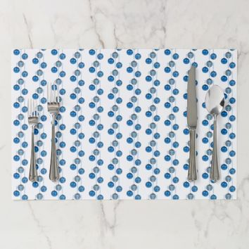 Merry Christmas Blue Baubles Pattern Elegant Placemat