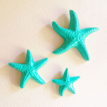 Aqua Starfish Wall Art - Set of 3