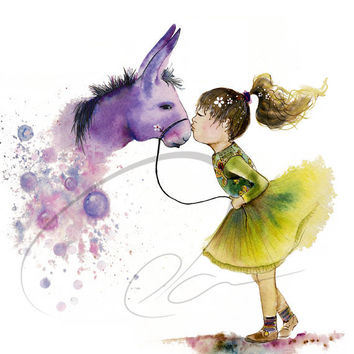 Magic Kiss - Art Print cute pony girls room decor childs wish cute nursery gift idea horse purple donkey watercolor painting Oladesign 11x14