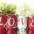 LOVE, set of four, Hand Painted Mason Jars | Rustic, Home Decor -- Red, Pink and White Mason Jars