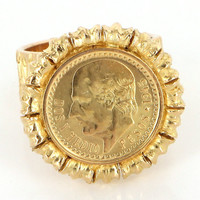 Vintage 14 Karat Yellow Gold 1945 Dos Peso Coin Cocktail Ring Fine Jewelry