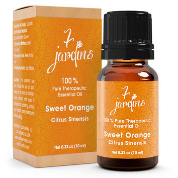7 Jardins Sweet Orange Pure & Natural Therapeutic Grade Essential Oil - No Dilution - No Fillers- 100% Pure Oil. Enhances Skin And Beauty. 10 ml