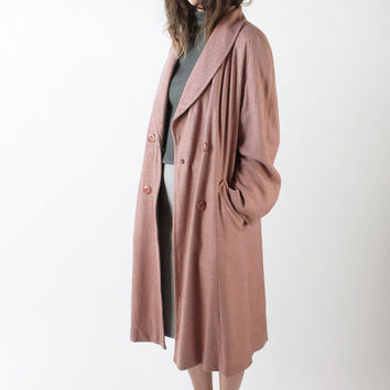 Vintage 80s Dusty Rose Double Breasted Woven Coat   L