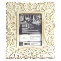 "Threshold™ Carved Wood Leaf Scalloped Frame - (4x6"")"