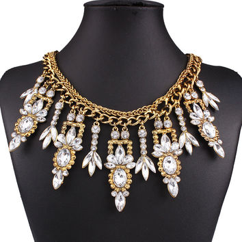Golden Crystal Embellished Chunky Necklace
