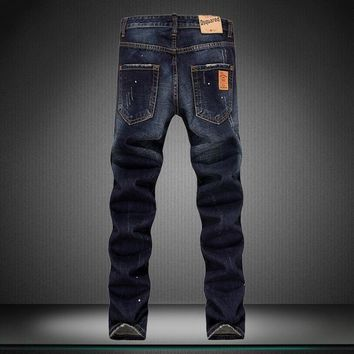 Low Waist Ripped Holes Denim Jeans [164468686877]