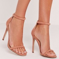 Missguided - Pink Rounded Strap Barely There Sandals