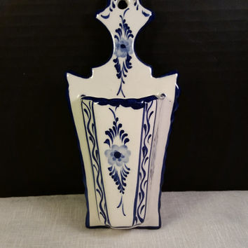 Blue White Wall Pocket RCCL Made in Portugal Hand Painted Blue & White Wall Pocket Air Plant Holder Signed Numbered Vintage Wall Pocket