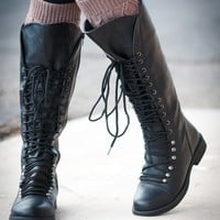 Andrea-16 Military Lace Up Knee High Boots (Black) - Shoes 4 U Las Vegas