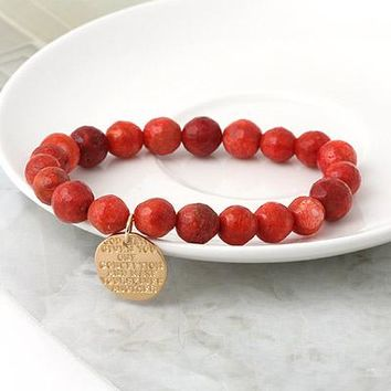 Coral Agate Stamped Coin Elastic Bracelet