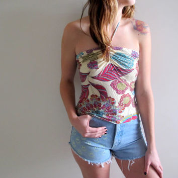 Vintage Halter Top Tank Womens Summer Paisley Boho Bohemian Hippie White Pink Festival