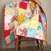 Happy Vintage Baby Girl Quilt by SparklePower on Etsy
