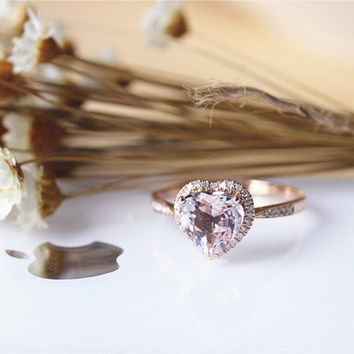 Special Heart Shaped Morganite Ring Solid 14K Rose Gold Morganite Engagement Ring Wedding Ring Promise Ring Anniversary Ring Valentine Gift