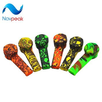 Reggae Color Food-Grade Silicone Smoking Pipe Funny Skull Pattern Silicone Tobacco Pipe weed herb  Dry burning pipe